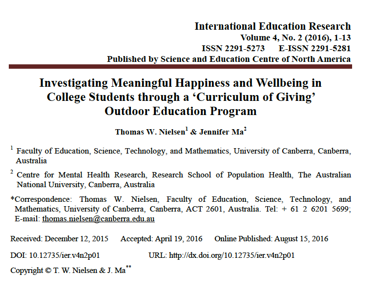 Investigating Meaningful Happiness and Wellbeing in College Students through a 'Curriculum of Giving' Outdoor Education Program
